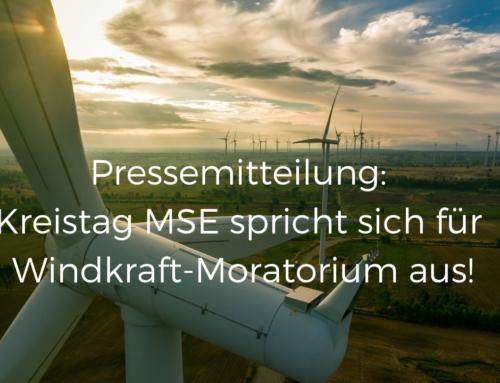 Pressemitteilung: Kreistag MSE spricht sich für Windkraft-Moratorium aus!